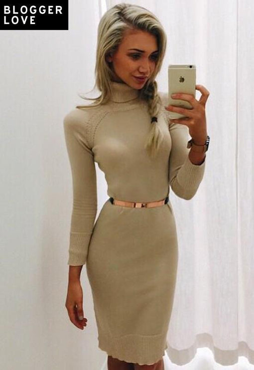 Monaco Turtleneck Dress - BEIGE