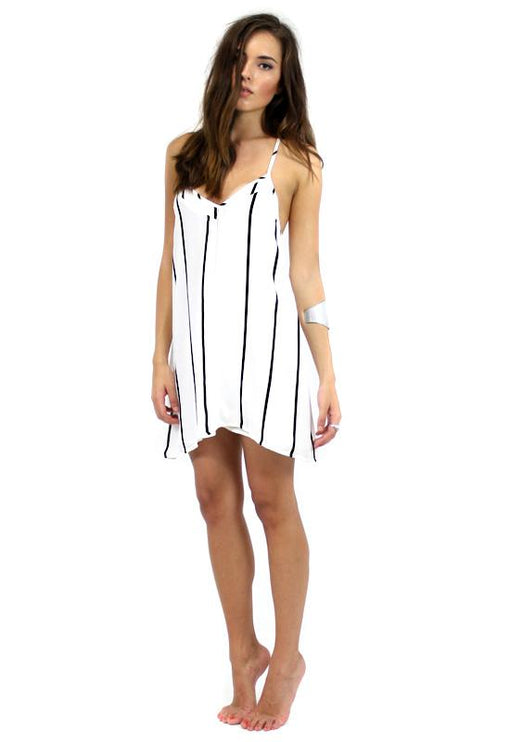 Lola Mini T-Back Dress - WHITE STRIPE