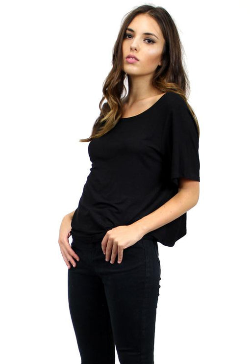 Knot Back Tee - BLACK