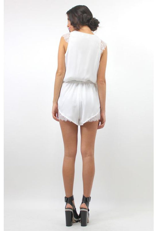 Marykate Lace Playsuit - WHITE