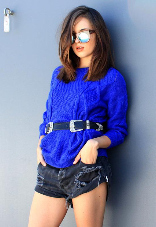 Tahlia Cable Knit - BLUE