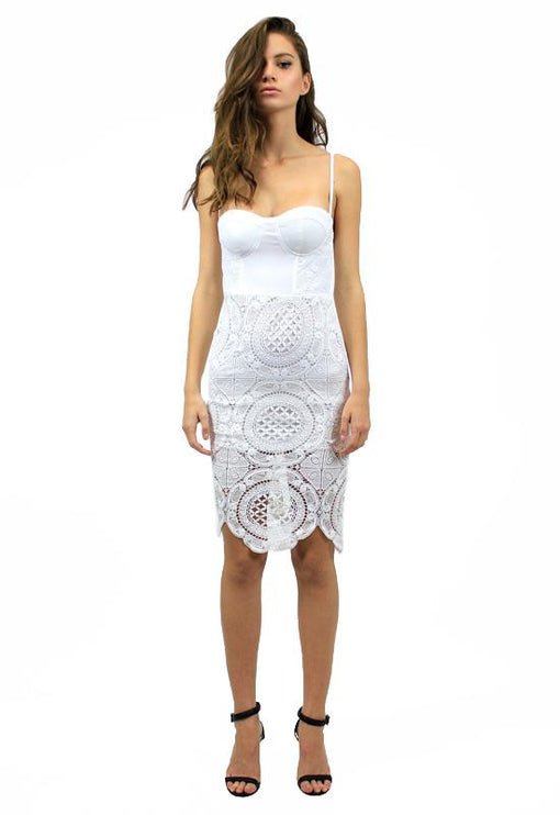Bettina Bustier Lace Dress - WHITE