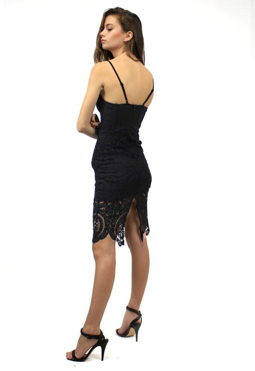 Bettina Bustier Lace Dress - BLACK