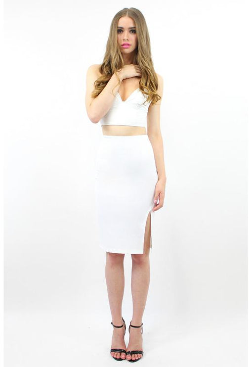 First In Line Neoprene Skirt - WHITE