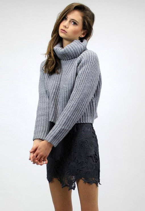 New World Turtleneck Knit - GREY