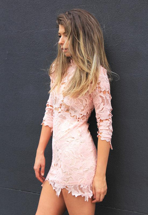 Harvest Lace Dress - BLUSH