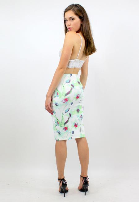 First In Line Neoprene Skirt - WILLOW PRINT