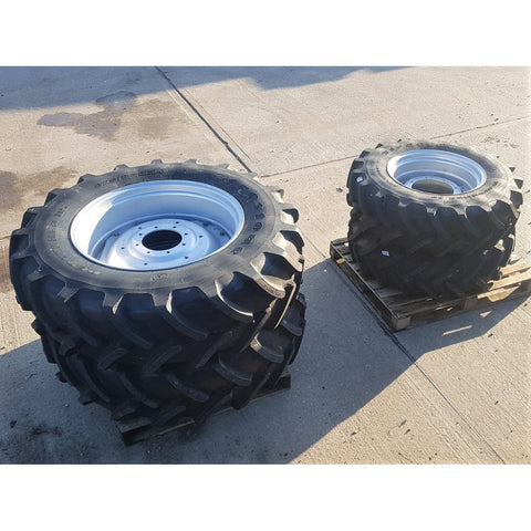 420/85R34 & 340/85R24 Firestone wheels, as-new condition.  Case