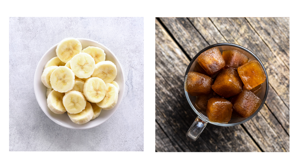 chopped up banana in a bowl and coffee ice cubes in a cup for blending
