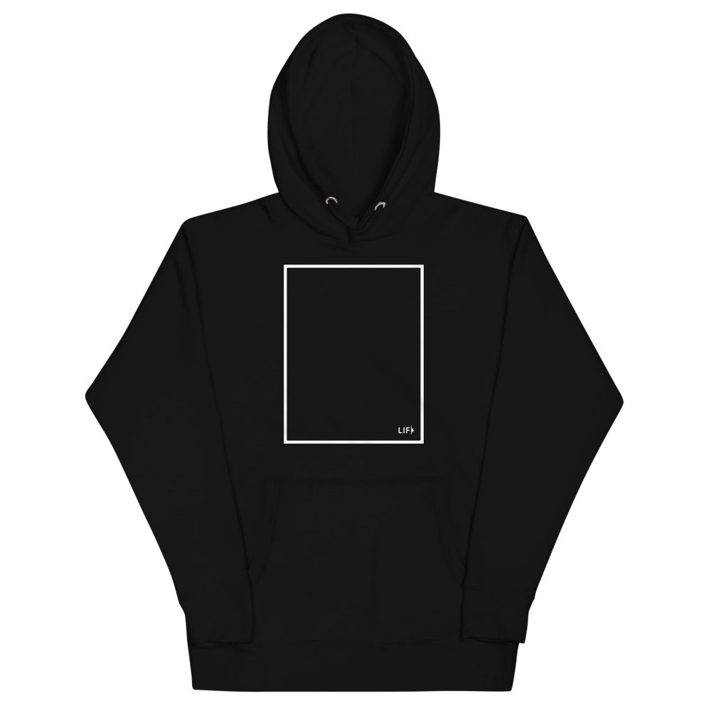 Living in Frame Black Hoodie Sweatshirt with white branded box on the front