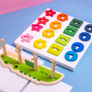 Wooden Tracking Building Blocks Geometric Shape Cognition Match