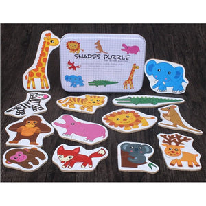 Wooden Jigsaw Puzzles in Tin Box