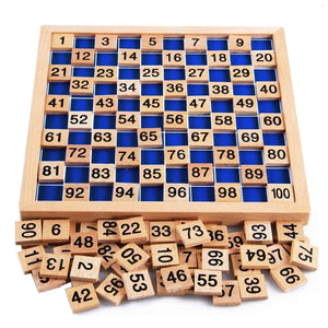 1 to 100 Number Tray Montessori Educational Board - Wooden toy for Kids