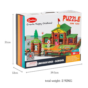 Wooden Blocks Lincoin Logs Construction Set (270 Piece)