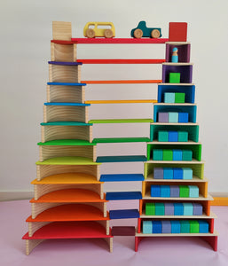 Rainbow Building Boards - Wooden Toy for Kids