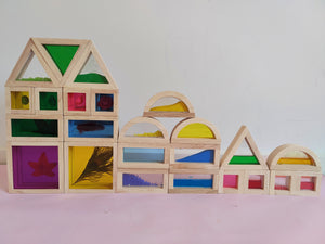 Wooden Sensory Rainbow Blocks with Mirror - Wooden Toy for Kids
