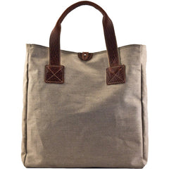 MULHOLLAND BROTHERS BISON LINEN LARGE BOX TOTE