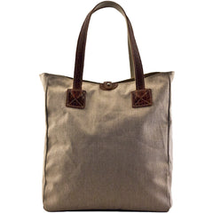 MULHOLLAND BROTHERS BISON LINEN SMALL BOX TOTE