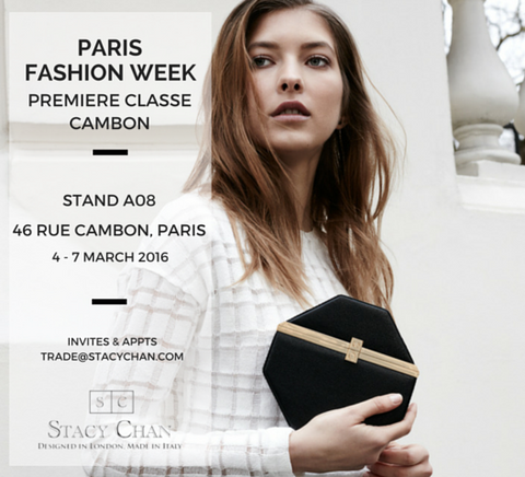 Black Octagonal Clutch Bag Paris Fashion Week Invitation