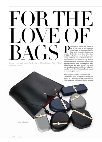 Stacy Chan Designer Handbags Interview in EGO Magazine Luxury Dubai