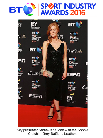 BT Sport Industry Awards Sarah-Jane Mee with Grey Clutch Bag