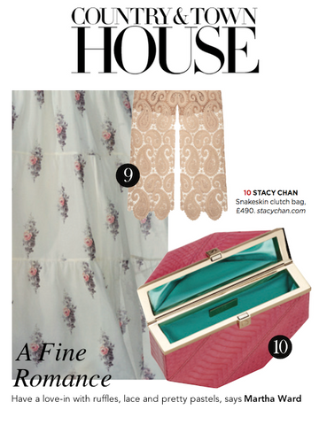 Country & Townhouse Magazine with Pink Snakeskin Octagonal Clutch Bag