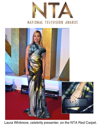 Celebrity Presenter Laura Whitmore Carrying Stacy Chan Sophie Clutch Bag on NTA Red Carpet