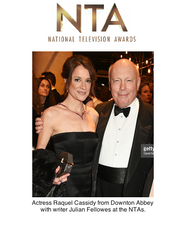 Raquel Cassidy with Gold Octagonal Clutch Bag at National Television Awards