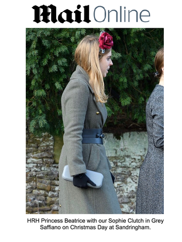 Princess Beatrice at Christmas with Designer Clutch Bag by Stacy Chan