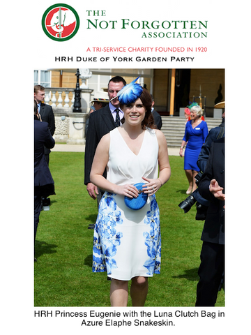 Princess Eugenie with Blue Egg Clutch Bag at Buckingham Palace Garden Party