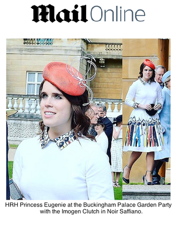 Daily Mail Princess Eugenie with Black Octagonal Clutch Bag at Buckingham Palace Garden Party