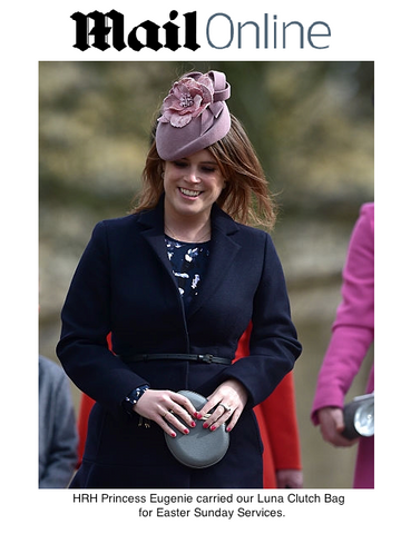 Princess Eugenie with Stacy Chan Luxury Handbags Luna Clutch Bag