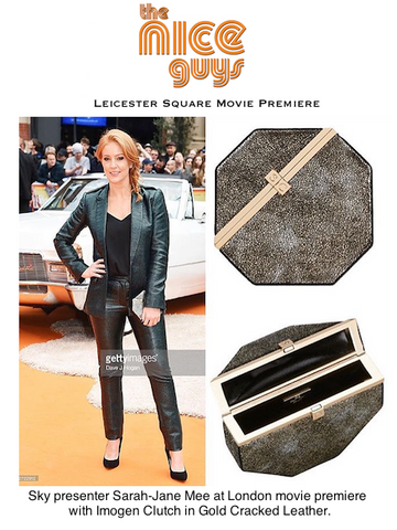 Sky Sarah-Jane Mee with Gold Leather Octagonal Clutch Bag