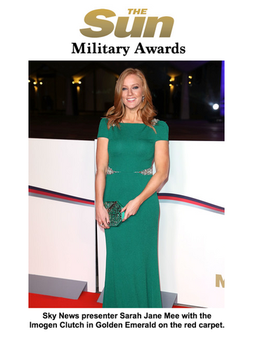 Red Carpet Sky News Presenter Sarah Jane Mee with Designer Clutch Bag by Stacy Chan