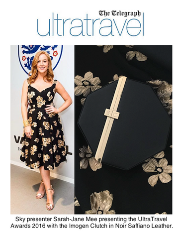 The Telegraph UltraTravel Awards Sarah-Jane Mee with Black Octagonal Clutch Bag