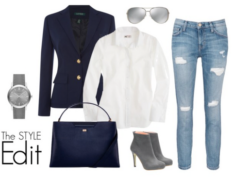 The Style Edit: Borrow His Shirt - with Stacy Chan Amy Tote Bag in Navy