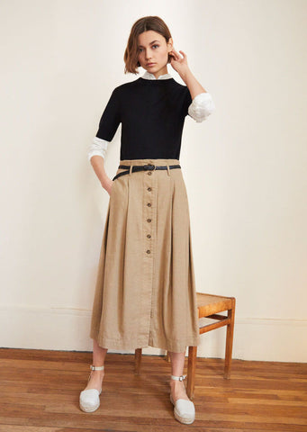 Beige Midi Skirt & Black Jumper