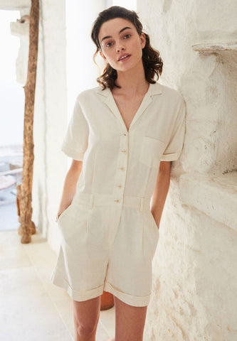 Beige Linen Jumpsuit Playsuit