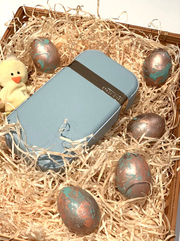 Stacy Chan Clutch Bag and Marbled Easter Eggs