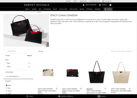 Harvey Nichols Stacy Chan Designer Handbags