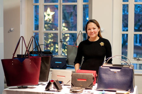 Luxury Handbag Display at Hygge Christmas Event - Designer Stacy Chan