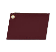 Burgundy Large Leather Pouch - Designer Stacy Chan