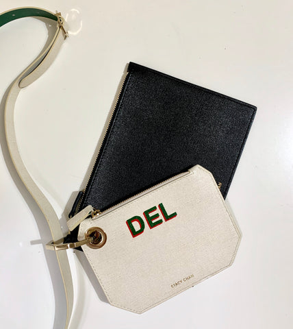 Painted Monogram Leather Pouch - Stacy Chan