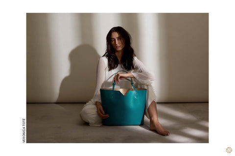AW18 Stacy Chan Veronica Teal Leather Tote Bag