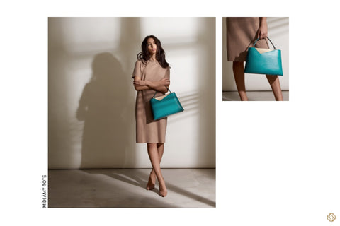 AW18 Stacy Chan Midi Amy Teal Leather Tote Bag