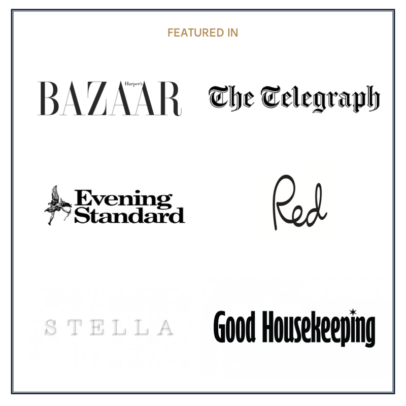 Featured Press for Stacy Chan Harper's Bazaar The Telegraph Good Housekeeping Evening Standard Red Magazine Stella Daily Mail
