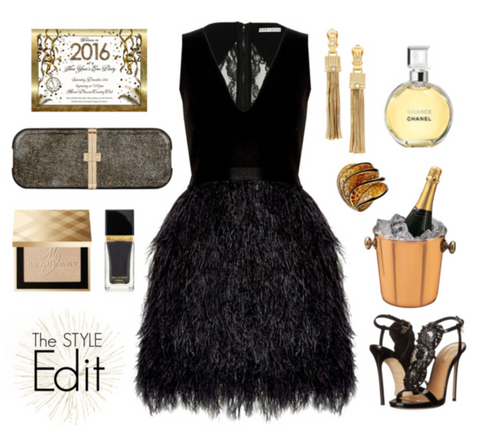 NYE Outfit with Sophie Clutch Bag in Gold Cracked Leather