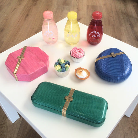 Colourful Clutch Bags with Evian Water and Sweet Elements London Fashion Week Sponsors