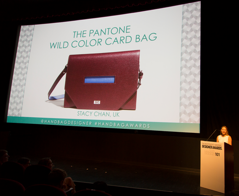 Burgundy Cross Body Bag at Handbag Designer Awards Speech