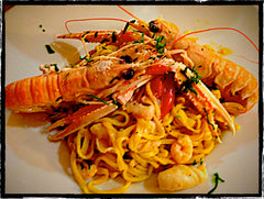 Fresh Tagliatelle with Scampi and Tomatoes